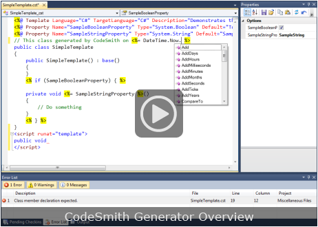 CodeSmith Generator Overview